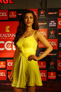Shruti Han Latest Stills in Yellow Short Dress at CCL 3 Curtain Raiser  0004