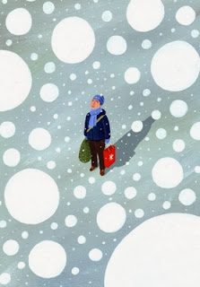 illustration by David Dean of a man in the snow