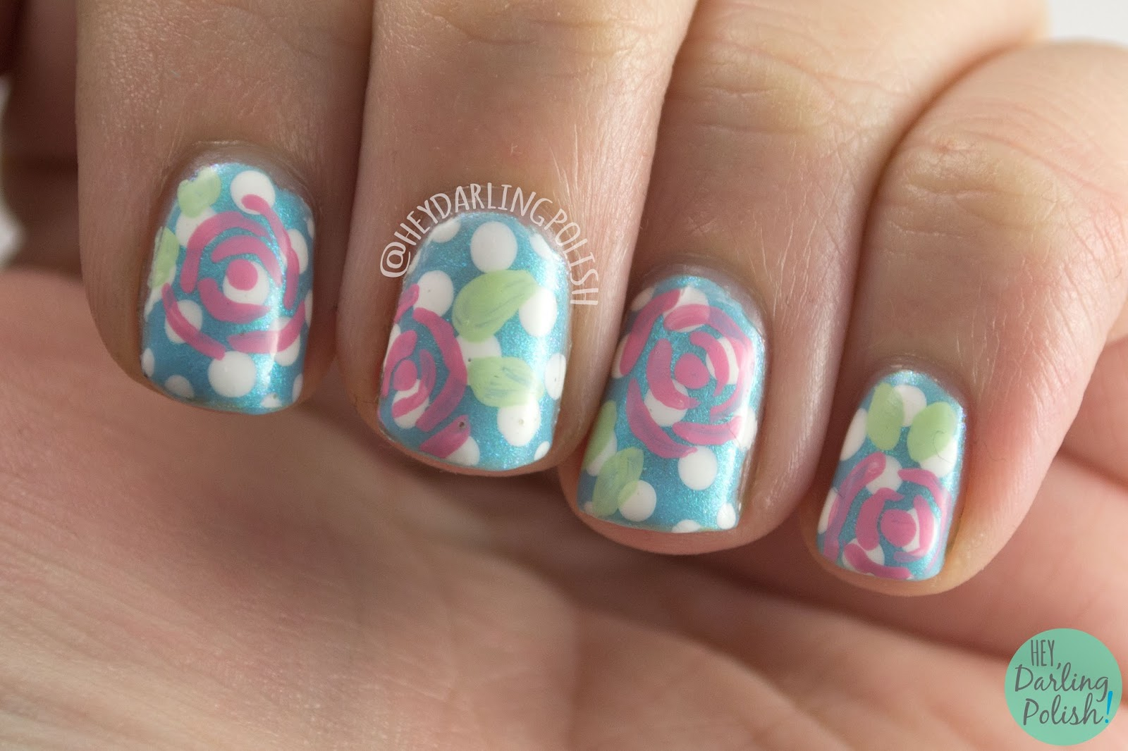 nails, nail art, nail polish, hey darling polish, roses, polka dots, blue, the nail challenge collaborative, freehand