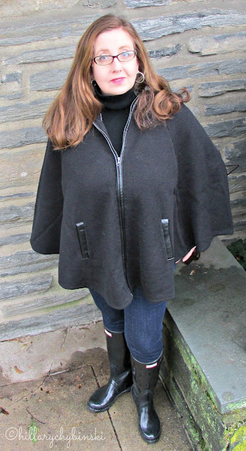 Black Wool Cape Styled With Skinny Jeans and Wellies
