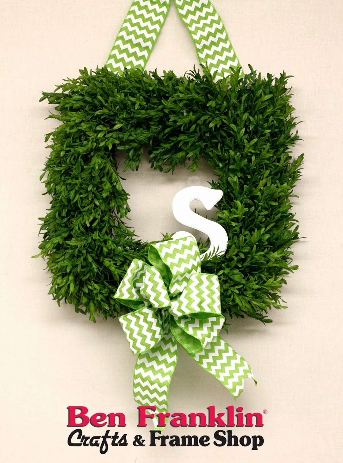 This Square Boxwood Wreath With The Green Chevron Ribbon And White Monogram  Is The Perfect Spring Decor For My Front Door.