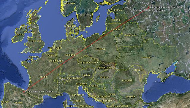 Mapa Migración becada (Scolopax rusticola)