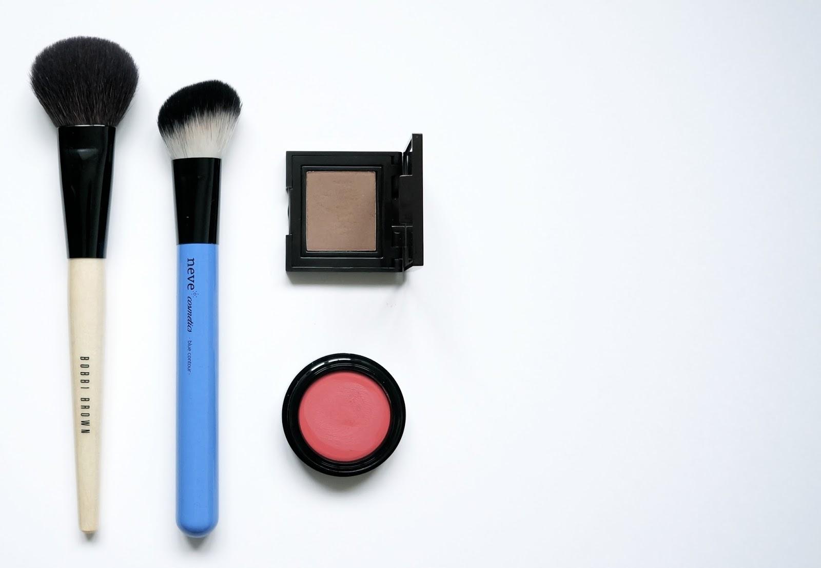 Mes Pinceaux maquillages Makeup Brushes Bobbi Brown Blush brush Neve Cosmetics Blue contour brush Laura Mercier Cafe au Lait eyeshadow Lavera Lips & Cheeks fancy melon Lexie Blush