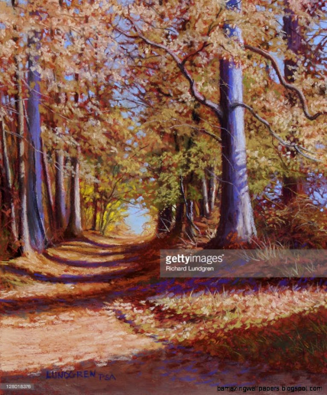 Path Going Through Autumn Forest Painting Fine art  Getty Images
