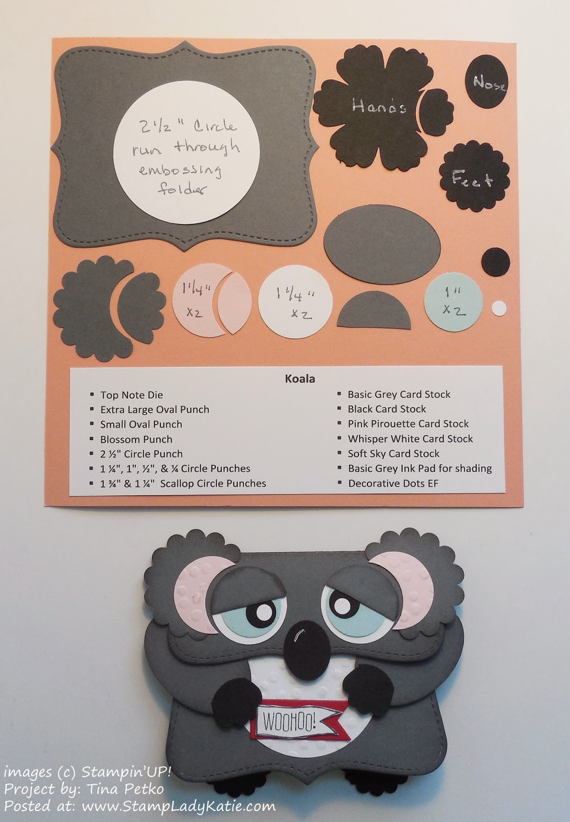 Recipe for the Punch Art Koala Bear card made with the Top Note Die