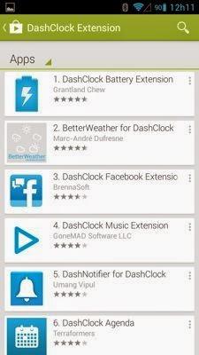 A loja de extensões para o DashClock no Google Play