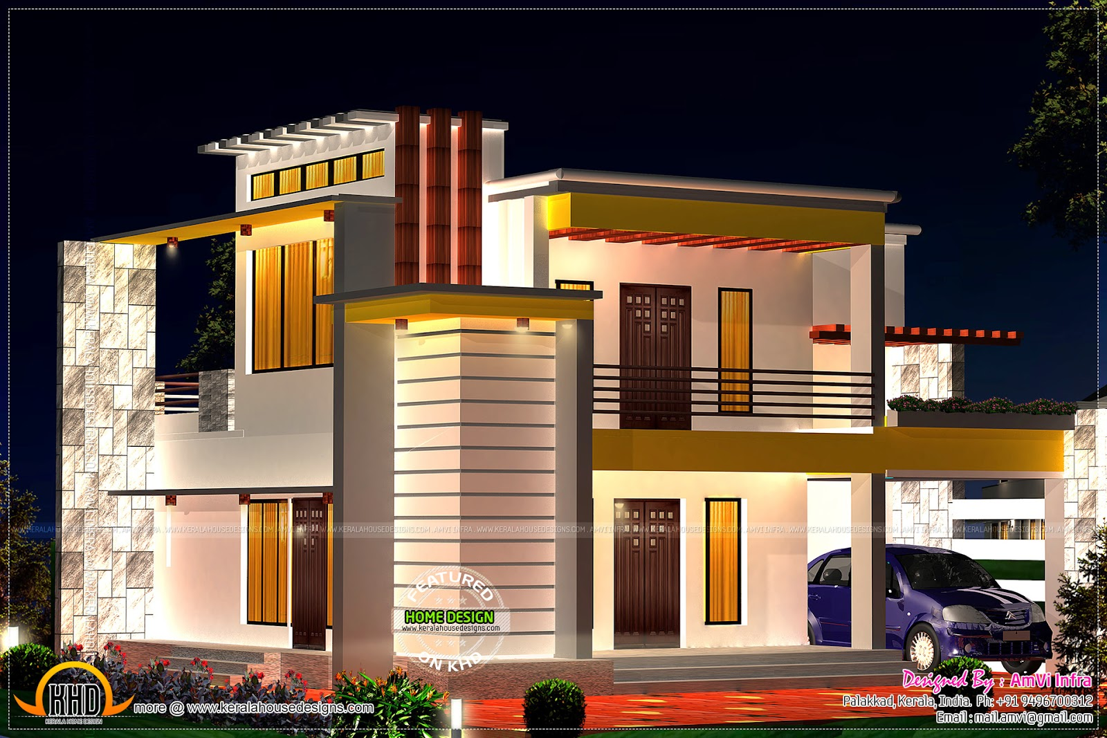 Flat Roof Home With Floor Plan Kerala Home Design And