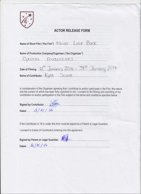 Emma Lawleys AS media blog Actor Release Forms – Actor Release Forms