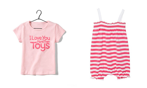 To the beach with mummy: Zara T-shirt and Petit Bateau little jumpsuit