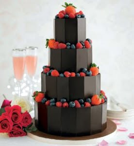 Four Tired Dark Chocolate Wedding Cakes