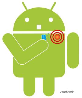 肩膀酸痛的 Android 機器人 (設計/林金亮 Jinliang Lin)