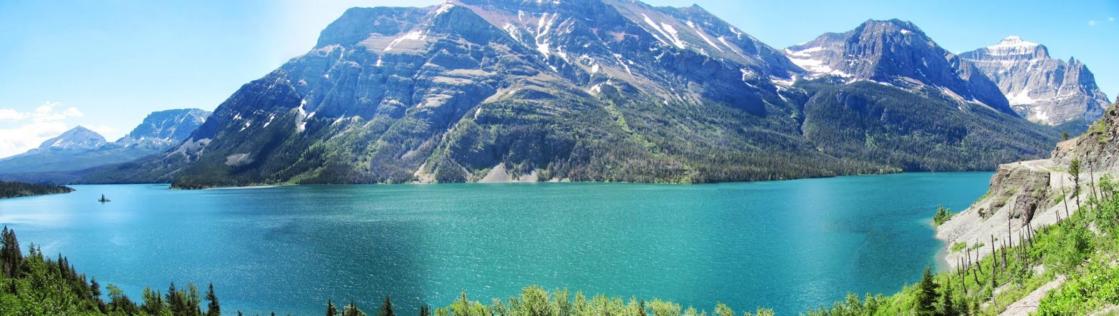 St. Mary Lake seen on a panoramic view from three photographs at Glacier National Park in Montana