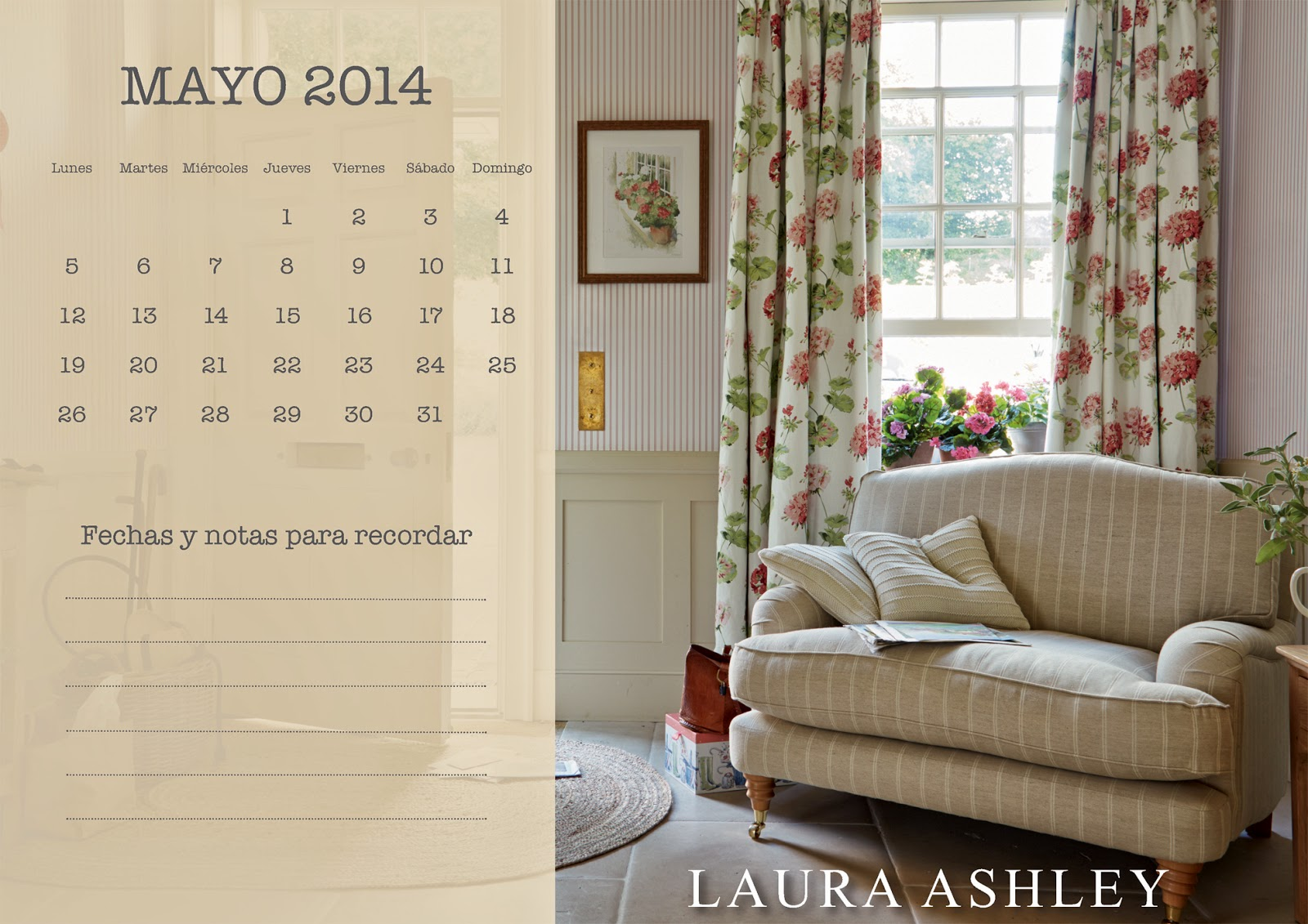 Calendario Mayo 2014 Laura Ashley