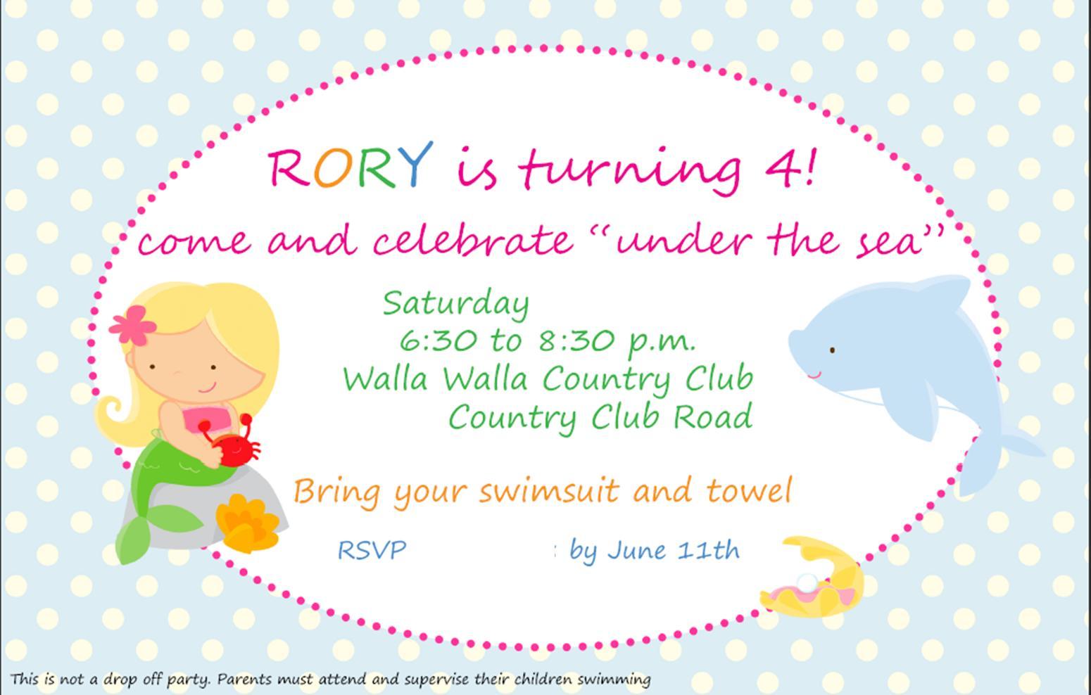 Rachel\'s Party Place: Mermaid Birthday Party Invitation
