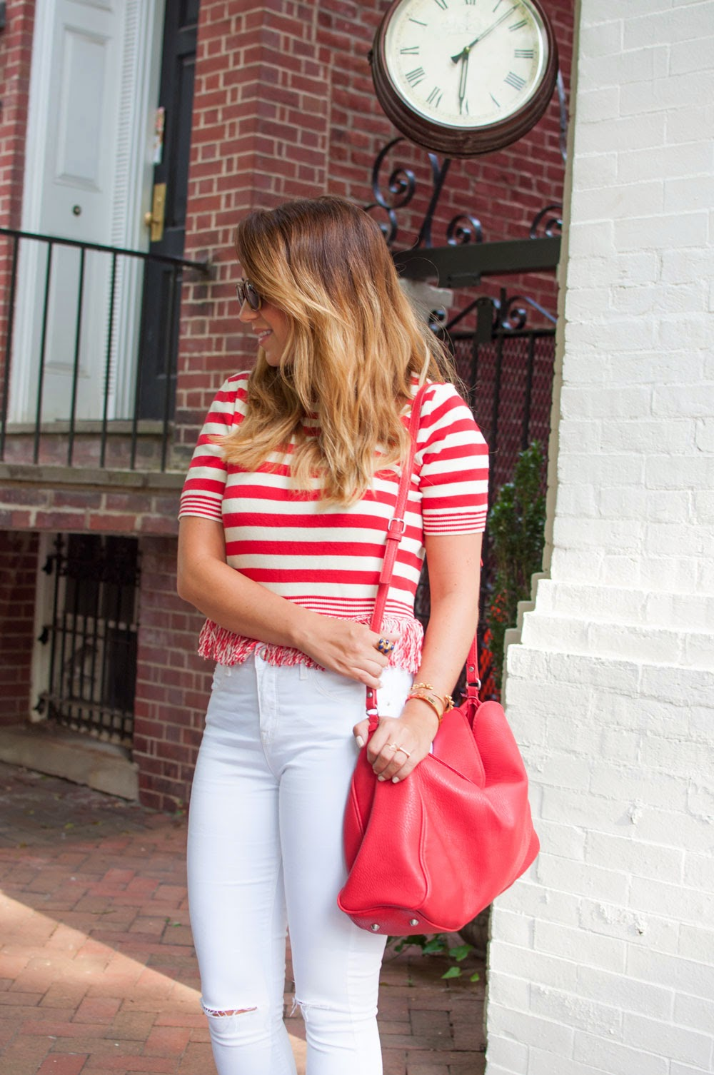 red and white stripes, striped shirt, fringe shirt, topshop shirt, white denim, white jeans, high waisted jeans, jeans with holes, nordstrom, fashion blogger, style blog, dc blog