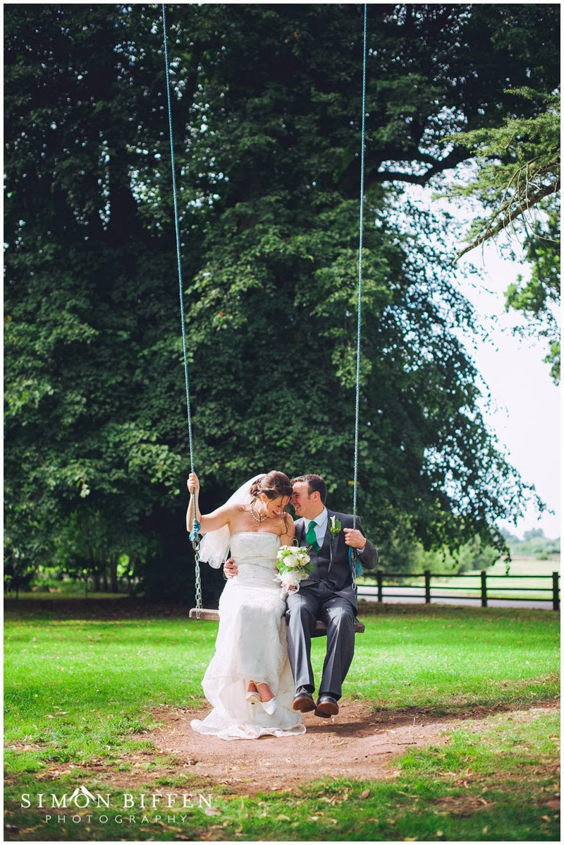 Maunsel House wedding Bride and Groom swing