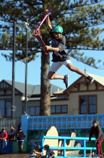 Donald Ashton, 13, Havelock North, winner, 13-years and under event, Lord of the Rink Scooter Contest, Sk8Zone, Marine Parade, Napier photograph