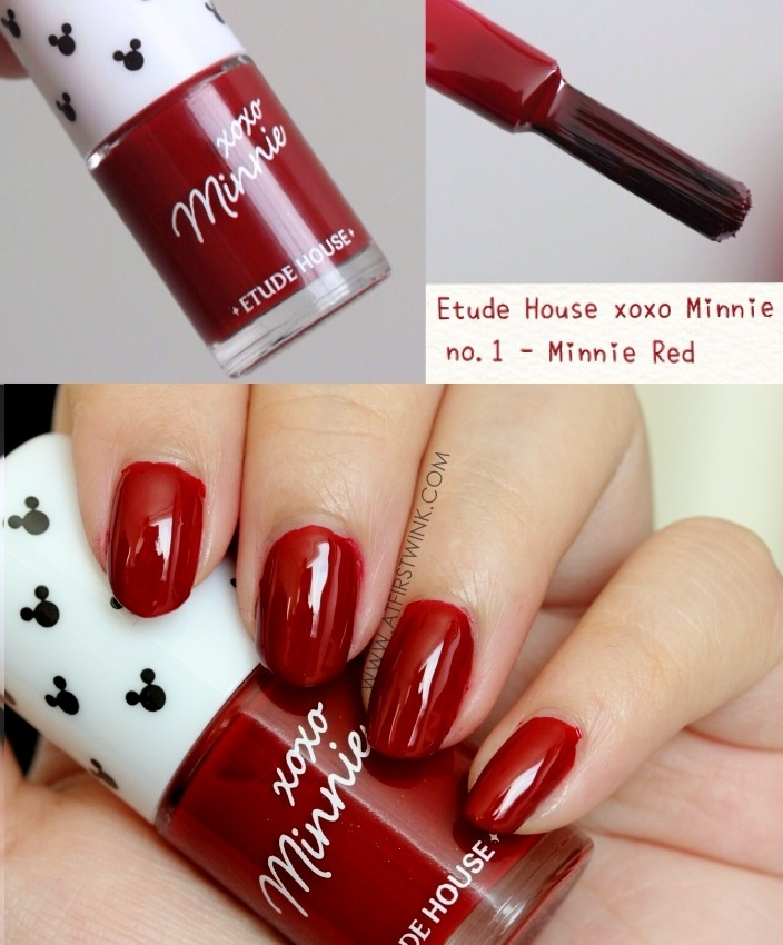 Etude House xoxo Minnie nail polish 01 - Minnie Red review