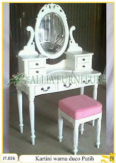 Meja Rias Ukiran Kartini Kayu jati warna duco putih Jakarta