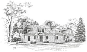 a black and white pen and ink drwaing of the house for the bellarmin showhouse tour