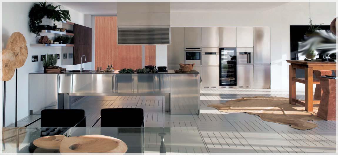 Rustfritt stål kjøkken design   interiør inspirasjon
