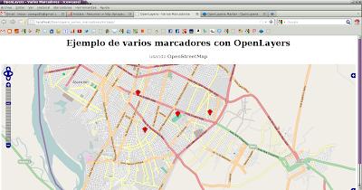 Imagen de un ejemplo de varios marcadores en OpenLayers usando OpenStreetMap