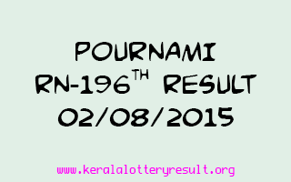 POURNAMI RN 196 Lottery Result 2-8-2015