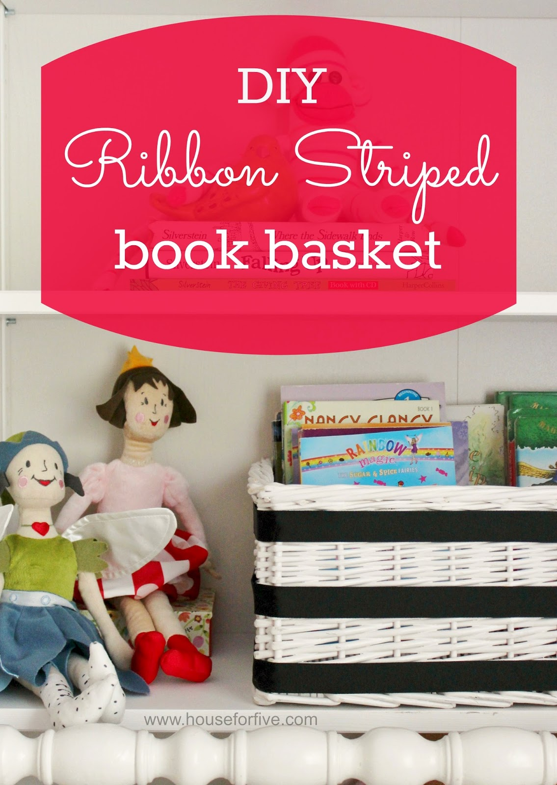 This ribbon striped basket helps keep library books corralled in one spot!