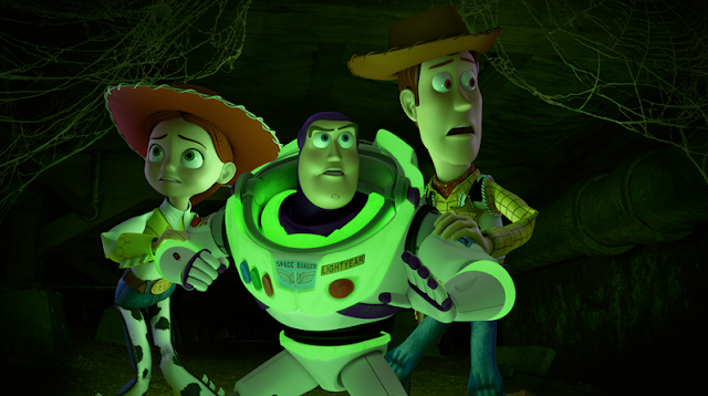 "Jessie, Buzz, and Woody hear something in the dark in ""Toy Story of Terror!"""