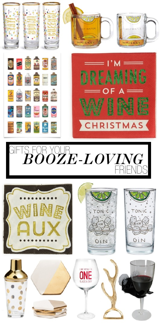 Great Gift Guide for your booze-loving friends! Some really cute ideas!