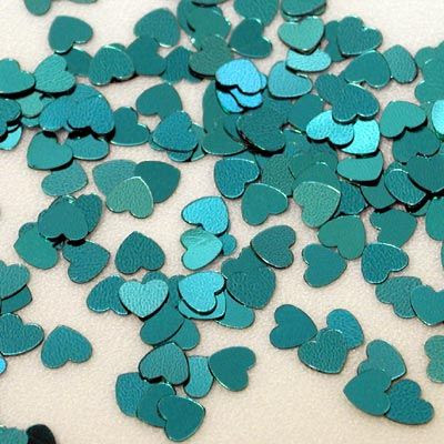 teal paper hearts