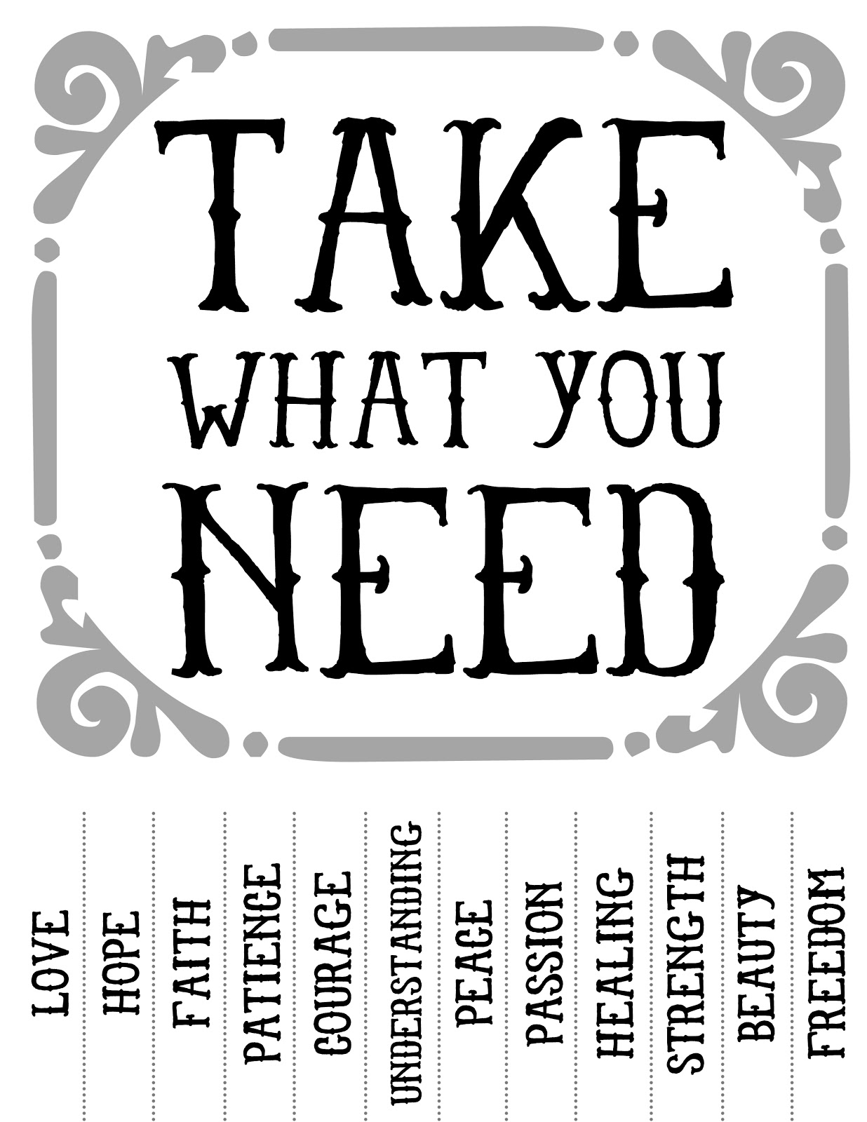 Simplicity image inside take what you need printable