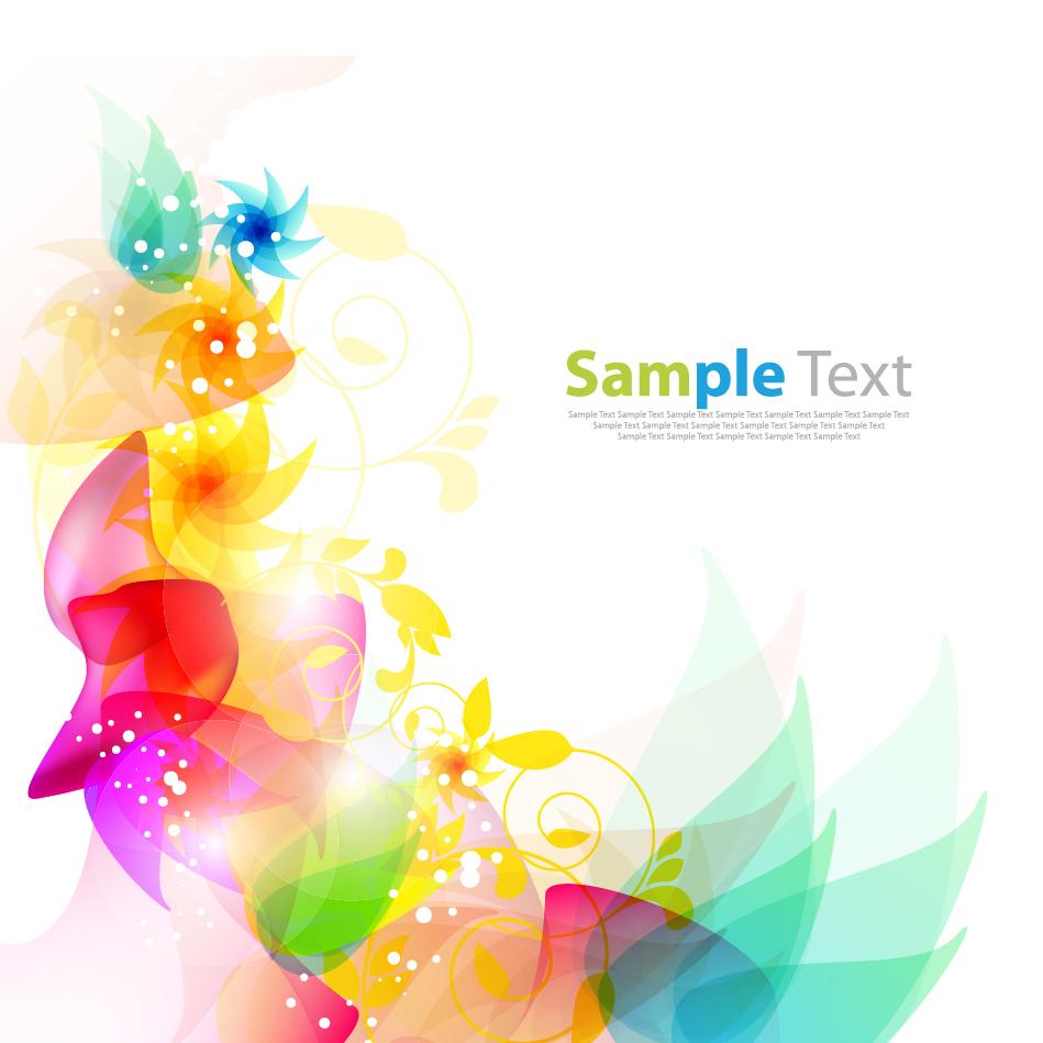 カラフルな色が淡く重なる植物柄の背景 Floral Abstract Background イラスト素材