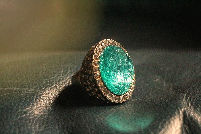 tyrkysový prsten, ring, rhinestone, levné šperky