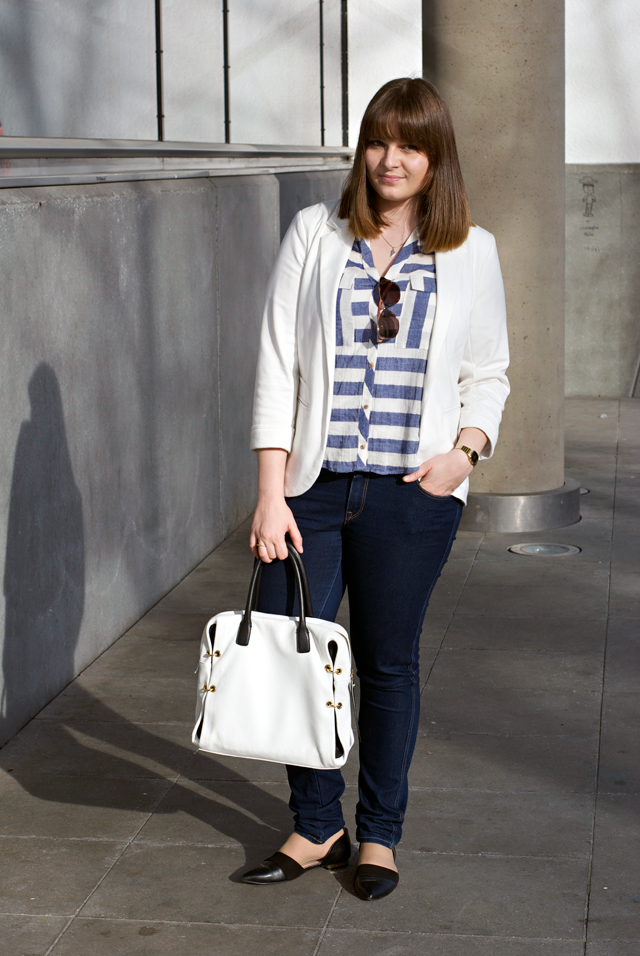 outfit spring white blazer striped blouse