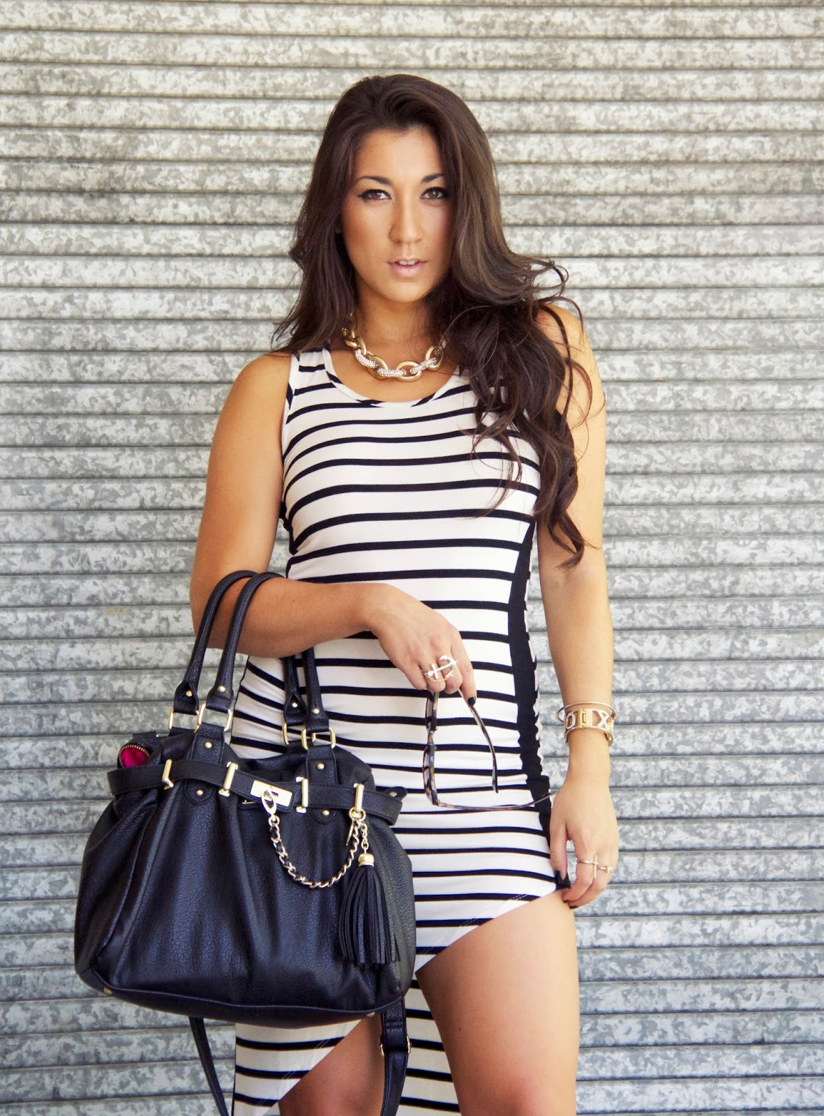 striped maxi dress with clear heels