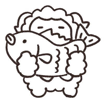 鯛を持っている羊のイラスト(未年) モノクロ線画