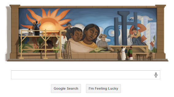 Google Doodle celebrates Diego Rivera 's birthday, Diego Rivera 125th Birthday Google Logo, diego rivera wikipedia