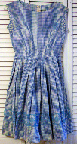 gingham dress with cross-stitch 1958