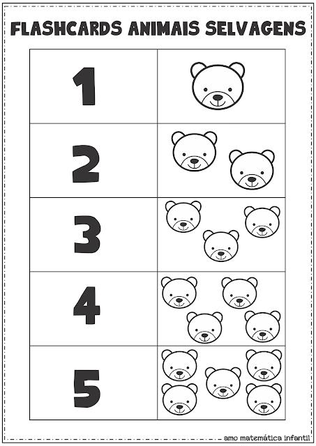 Flash Cards Número e Quantidade 1 a 5 Animais Selvagens