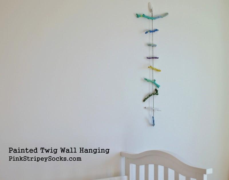 Twig Wall Art painted twig wall hanging | pink stripey socks