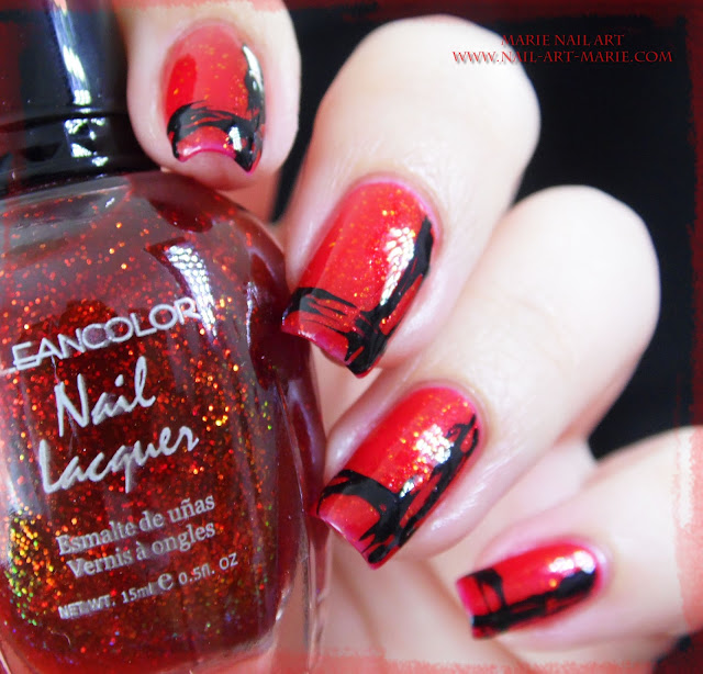 Nail Art Abstrait Rouge et Noir Facile1