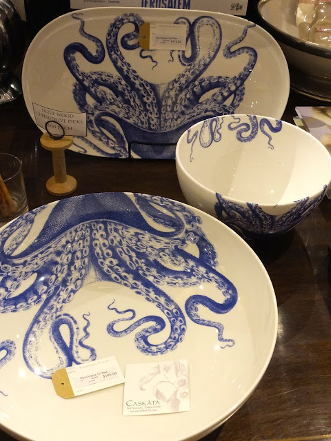 Caskata Blue Octopus tableware set
