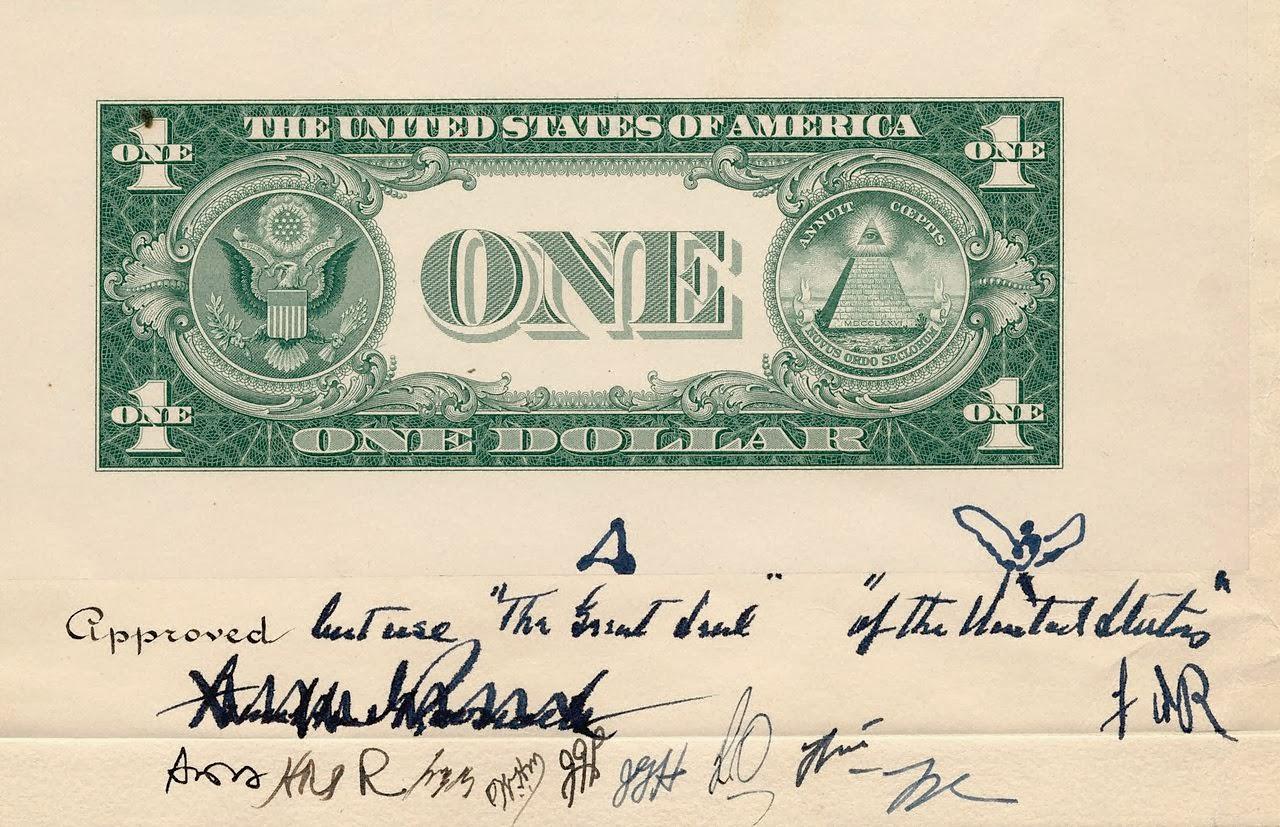 Эскиз оборотной стороны банкноты номиналом 1 доллар, 1935 г.