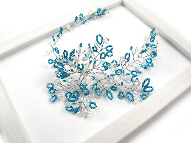 Gałązka ślubna do włosów z kryształkami, kolekcja Airy