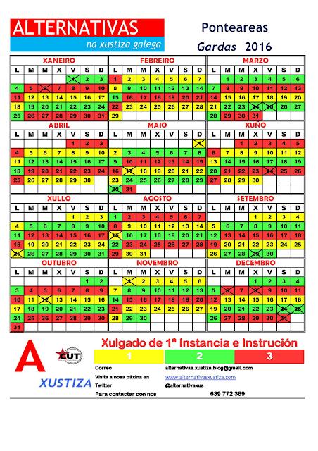 Ponteareas. Calendario gardas 2016