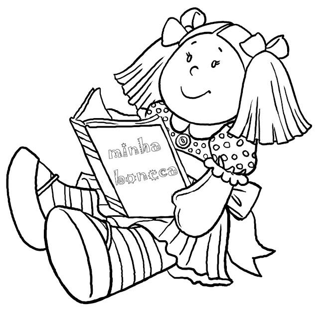 desenho boneca para colorir