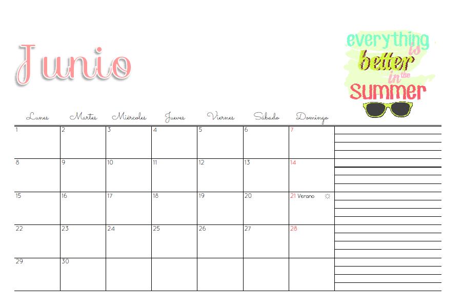 Calendario Junio 2015 Feliz Marthibis: Calendario 2015