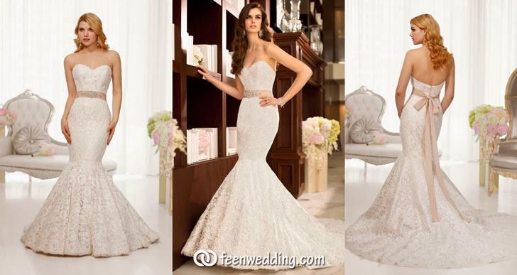 Strapless Sweetheart Trumpet Lace and Satin Wedding Dress Cover