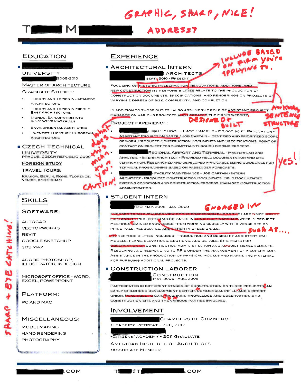 Intern 101 Redlined Resumes graphic and sharp